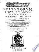 Volvmen Statvtorvm Legvm Ac ivrivm D. Venetorum